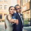 Eliza i Szymon w trakcie ślubnej sesji fotograficznej w Bydgoszczy
