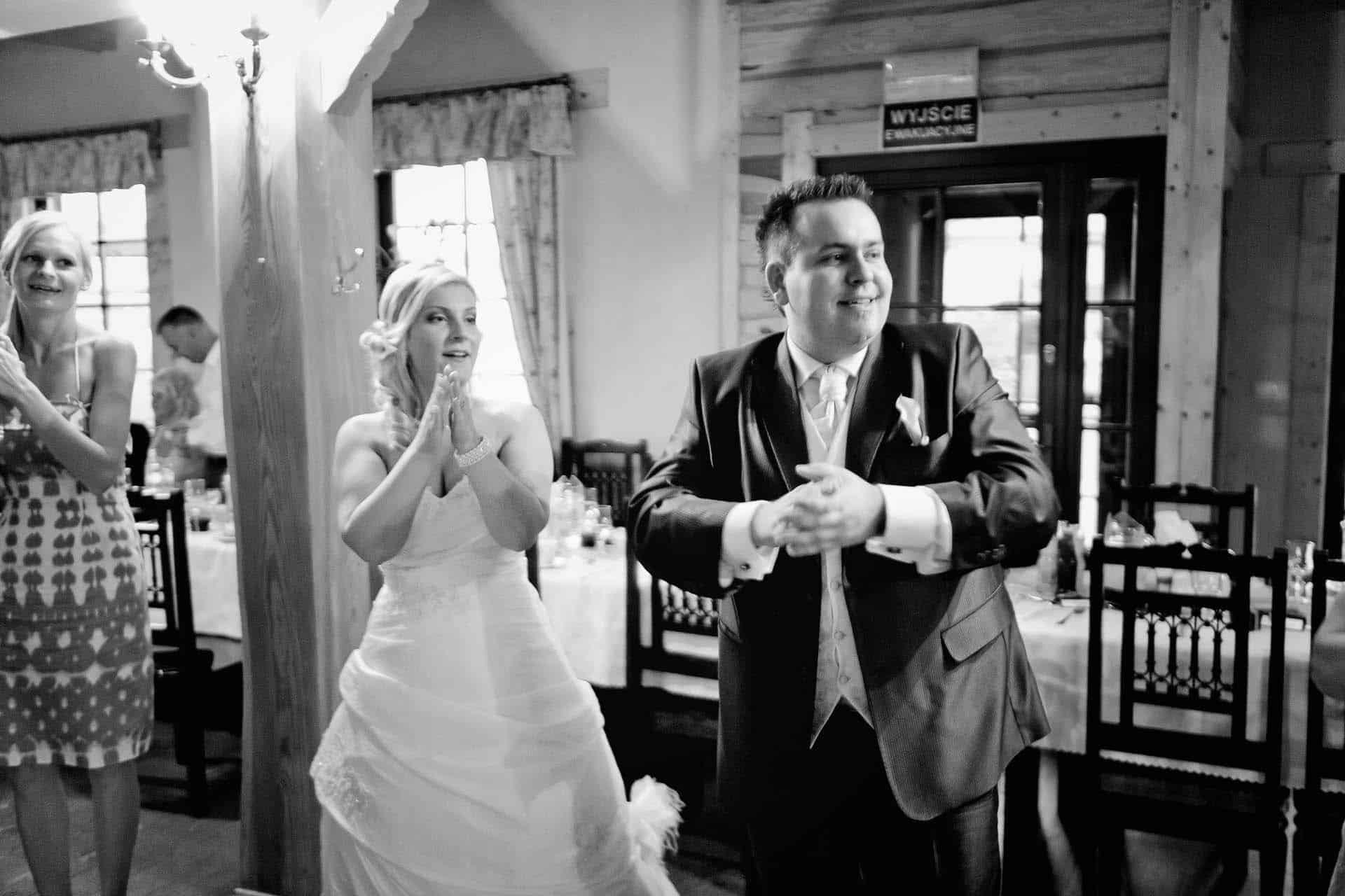 Czarno-biała fotografia ślubna z wesela Ani i Michała